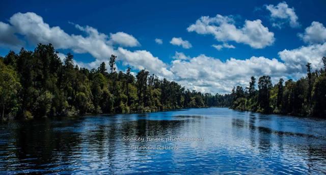 Arnold River from swingbridge Lake Brunner