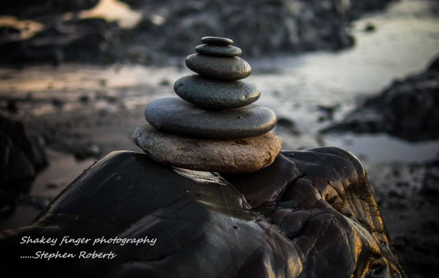 stone stacking 12 mile beach